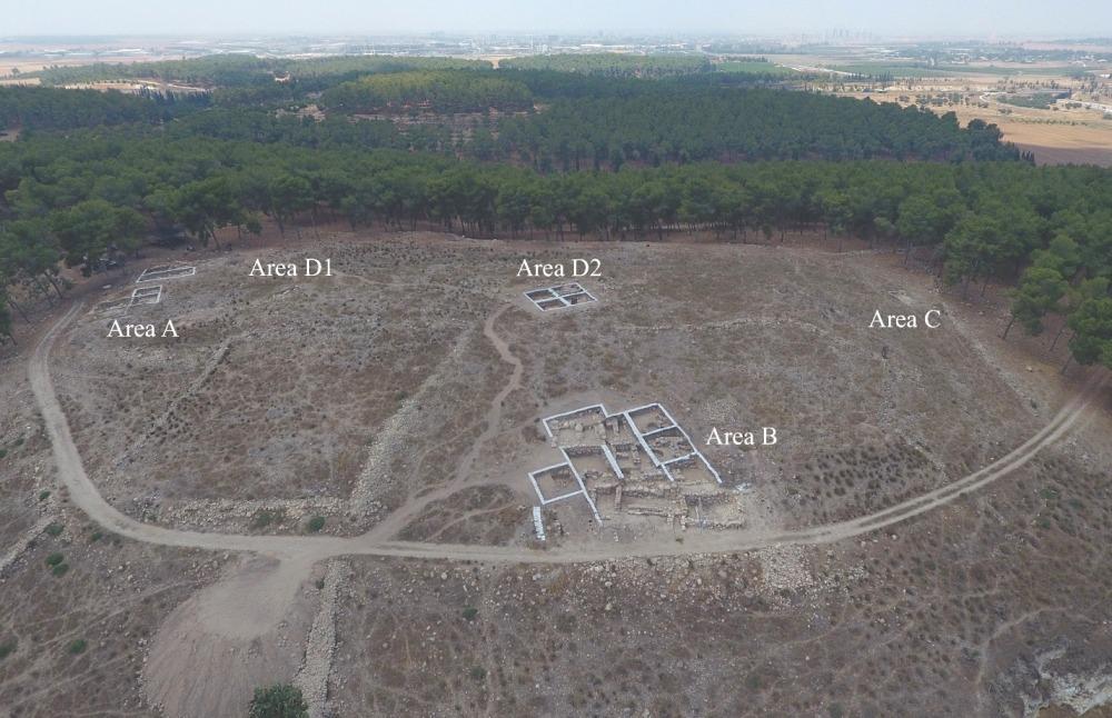 aerial photo of Khirbet el Rai and location of excavation areas (photo: Emil Elgam)